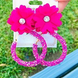 ✨NEW✨Summer Flower & Glitter Hoop Earrings!